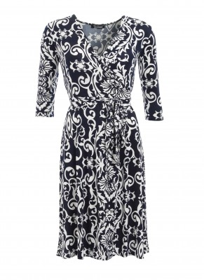 Navy and Ivory Print Wrap Dress Ghost