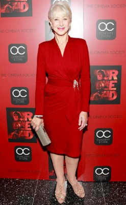 Helen Mirren Red Wrap Dress