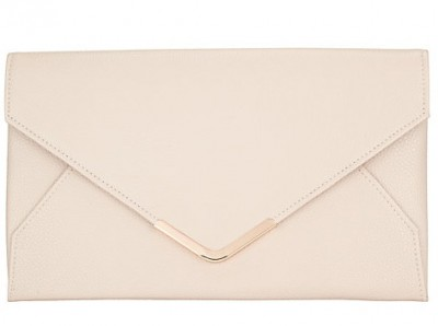 John Lewis Abigail Envelope Clutch Bag, Nude
