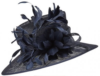 John Lewis Tanya Feathers Occasion Hat, Navy