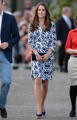 Kate blue and White Wrap DRess