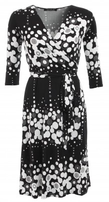 5521 Black and White Patterned Wrap Dress Ghost