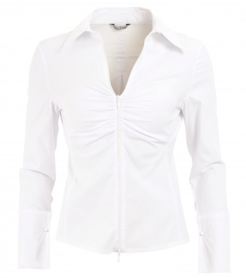 6019c White Zip Up Fitted Shirt Ghost