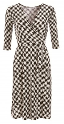 6191 Black and Ivory Print Wrap Dress Ghost