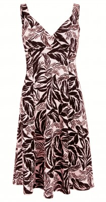 6205 Pastel Pink and Black Leaf Print French Crepe Dress Ghost
