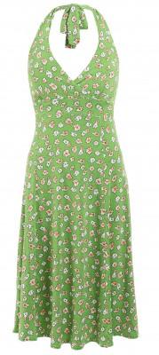 6254b Green Daisy Print Halter Neck Dress Ghost