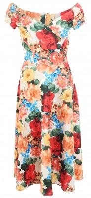 6269b Vintage Floral Print Bardot Dress