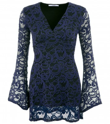 6279b Navy Blue Crochet Lace Bell Sleeve Top Ghost