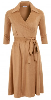 6294b Camel Faux Suede Wrap Dress Ghost