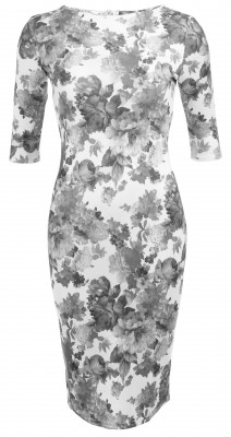 6298b Grey and Ivory Floral Shift Dress Ghost
