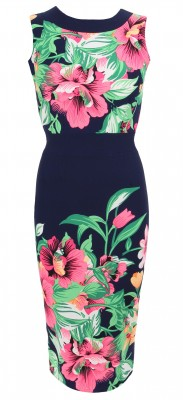 6306b Navy Blue and Pink Floral Shift Dress Ghost