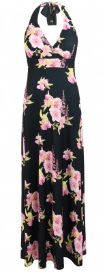 6308b Black and Pink Floral Halter Maxi Dress Ghost