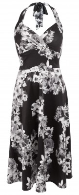 6314b Black and White Floral Halter Dress Ghost