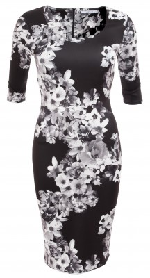 6315b Black and White Floral Shift Dress Ghost