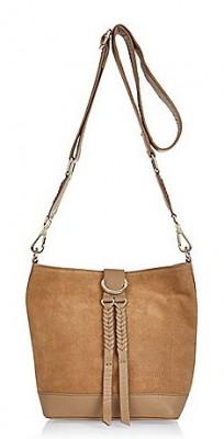 Beige Leather Bucket Bag