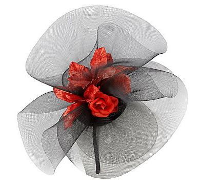 John Lewis Megan Rosebud Crin Fascinator, Black.Red