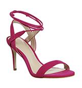 Office Midnight Strappy Ankle Tie Heels Pink Nubuck