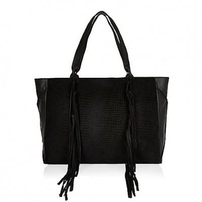 River Island Black SUede Tassel Tote Bag