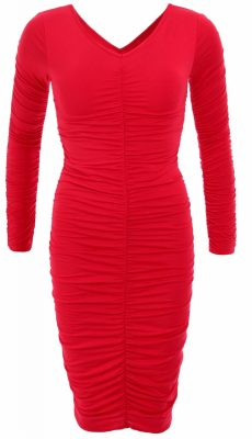 6032c-red-ruched-v-neck-long-sleeve-dress-ghost