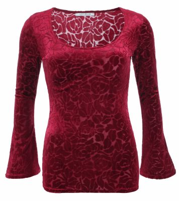6239b-dark-red-burn-out-velour-bell-sleeve-top-ghost