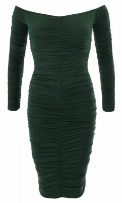 6275b-dark-green-off-the-shoulder-ruched-dress-ghost