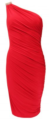 5032 Red One Shoulder Diamante Dress Ghost