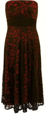5836d Red and Black Lace Strapless Dress Ghost