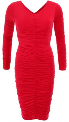 6032c Red Ruched V Neck Long Sleeve Dress Ghost