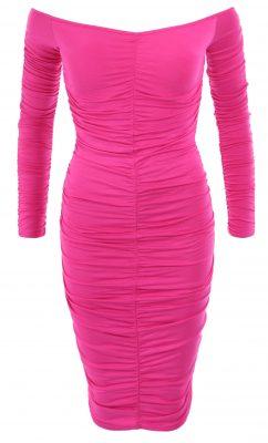 6123c Cerise Pink off the Shoulder Ruched Dress Ghost