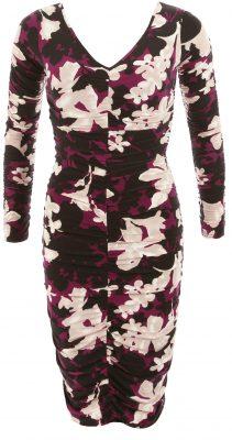 6213c Plum Floral Print Ruched V Neck Dress Ghost