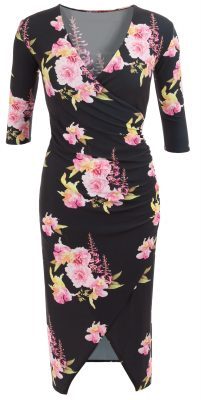 6317c Black and Pink Floral Mock Wrap Dress Ghost