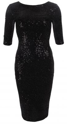 6331b Black Velour Sequin Pencil Dress Ghost