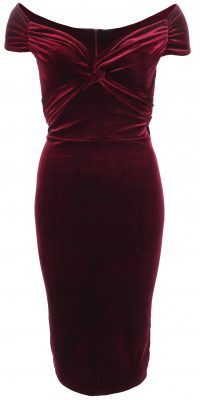 6330b Wine Velour Bardot Dress Ghost