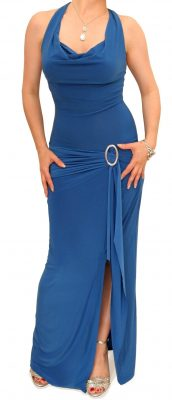 5458a Cobalt Blue Cowl Neck Long Evening Dress