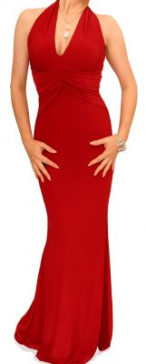 5658a Red Full Length Evening Dress