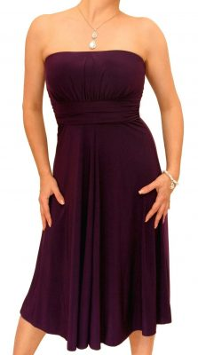 5872 Purple Slinky Strapless Dress