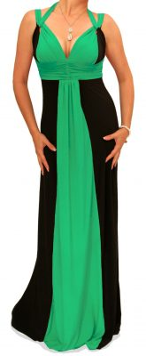 5900 Black and Jade Long Evening Dress