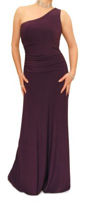 6015 Purple One Shoulder Long Evening Dress