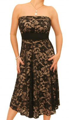 6096 Nude and Black Lace Strapless Dress