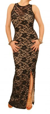 6102 Nude and Black Lace Maxi Dress