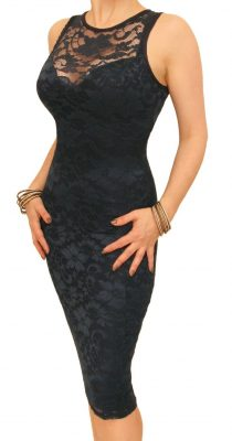 6107 Navy Blue Lace Sleeveless Dress