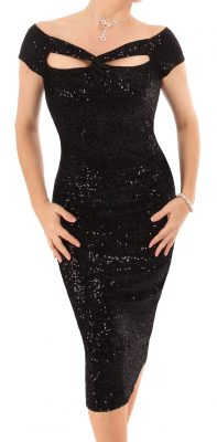 6289 Black Sequin Velour Cut Out Dress