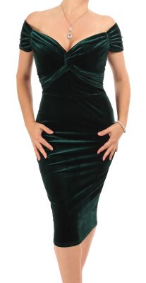 6329 Green Velour Bardot Dress