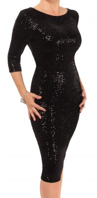 6331 Black Velour Sequin Pencil Dress
