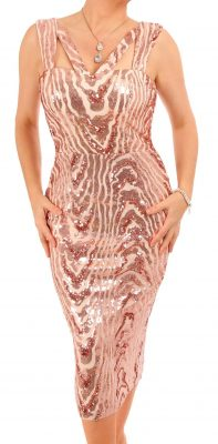 6337 Rose Gold Sequin Midi Dress