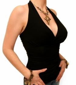 Black Figure Hugging Halter Neck Top