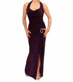 Purple Cowl Neck Long Evening Dress