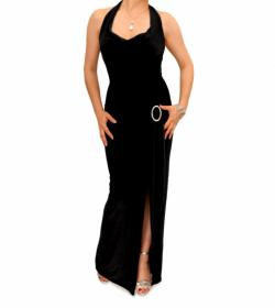 Black Cowl Neck Long Evening Dress