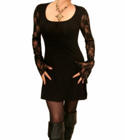 Black Lace Bell Sleeve Tunic Top