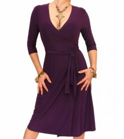Purple Elegant Wrap Dress